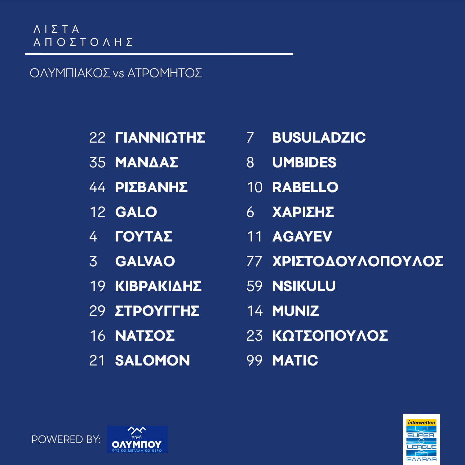 list olympiacos atromitos